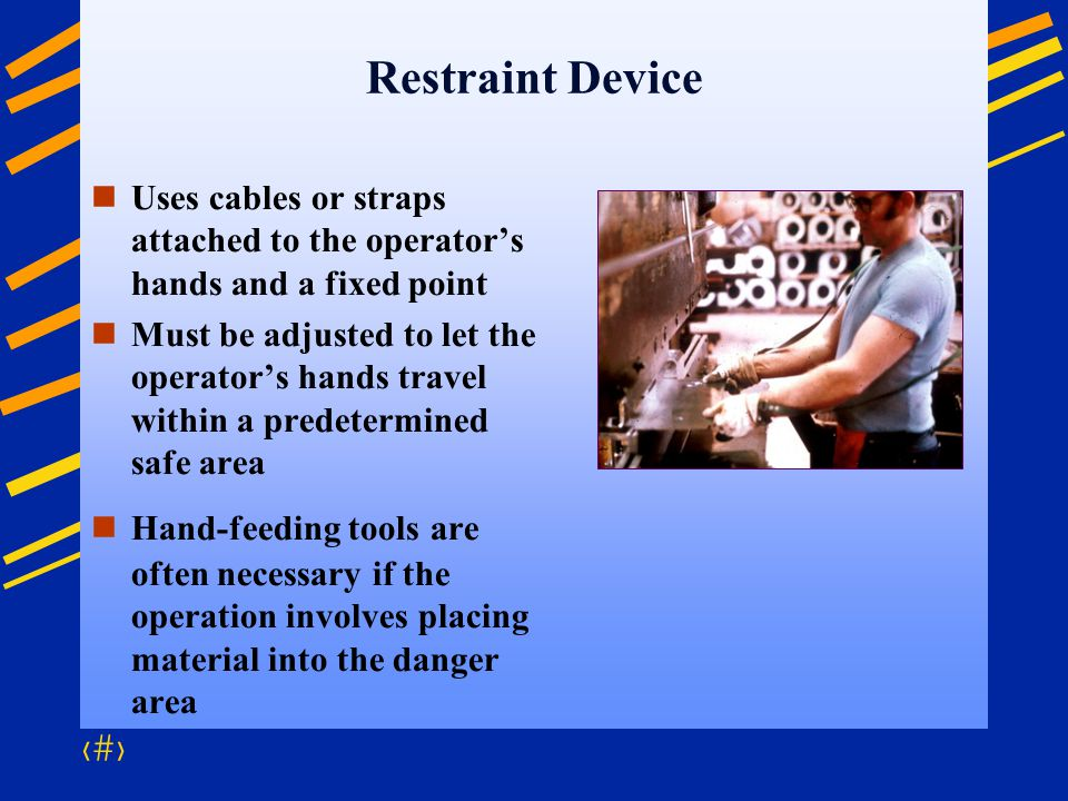 Restraint Device Uses cables or straps attached to the operator's hands and a fixed point.