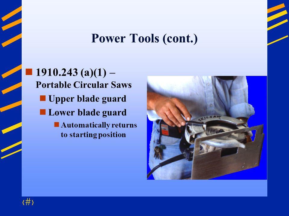 Power Tools (cont.) 1910.243 (a)(1) – Portable Circular Saws