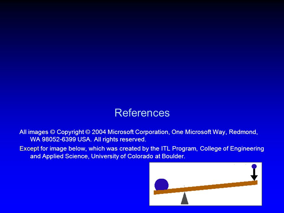References All images © Copyright © 2004 Microsoft Corporation, One Microsoft Way, Redmond, WA 98052-6399 USA. All rights reserved.
