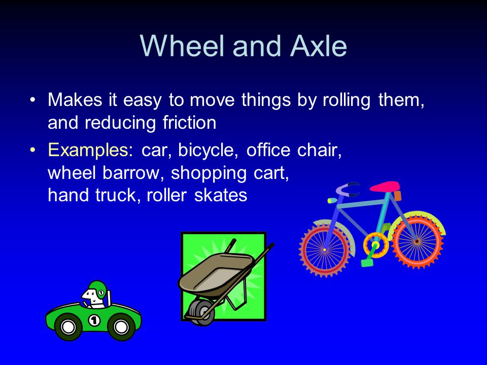 Wheel and Axle Makes it easy to move things by rolling them, and reducing friction.