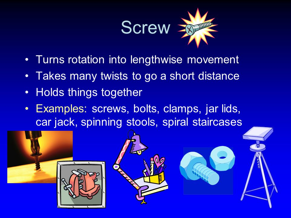Screw Turns rotation into lengthwise movement