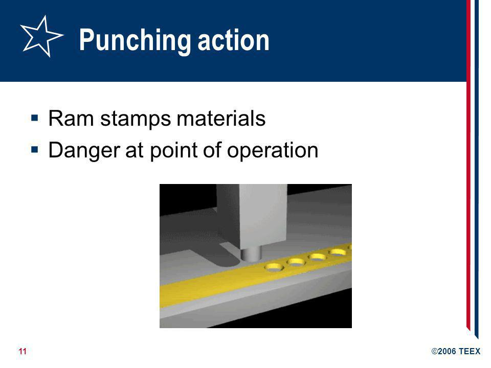 Punching action Ram stamps materials Danger at point of operation