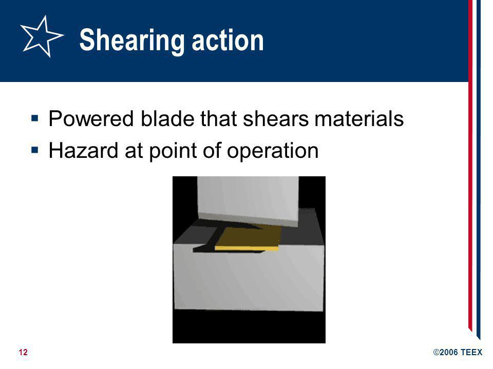 Shearing action Powered blade that shears materials