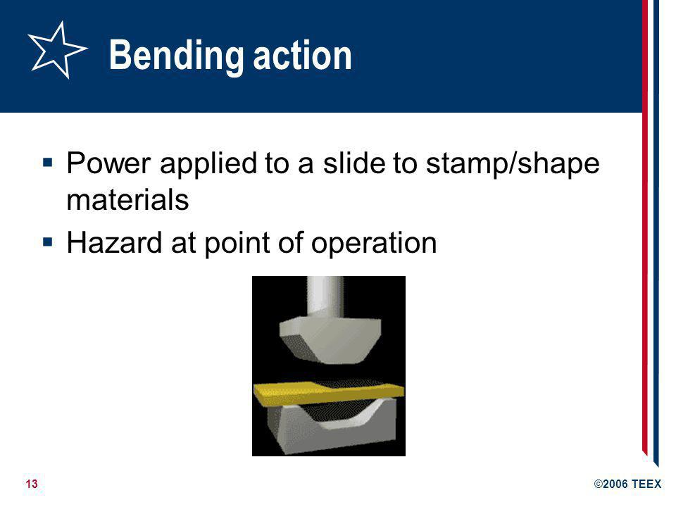 Bending action Power applied to a slide to stamp/shape materials