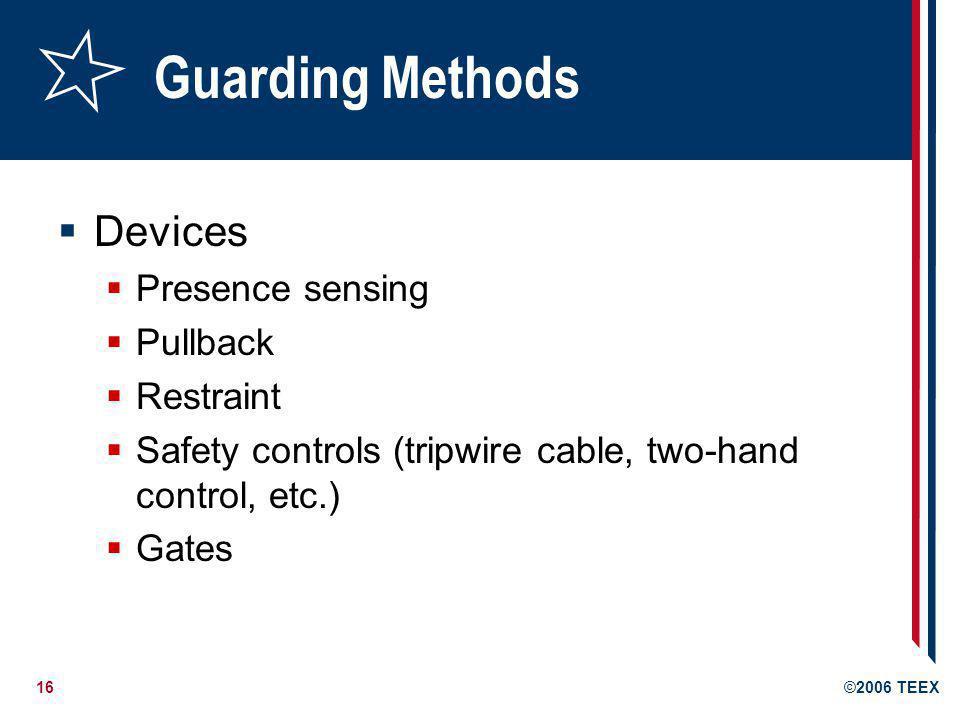 Guarding Methods Devices Presence sensing Pullback Restraint