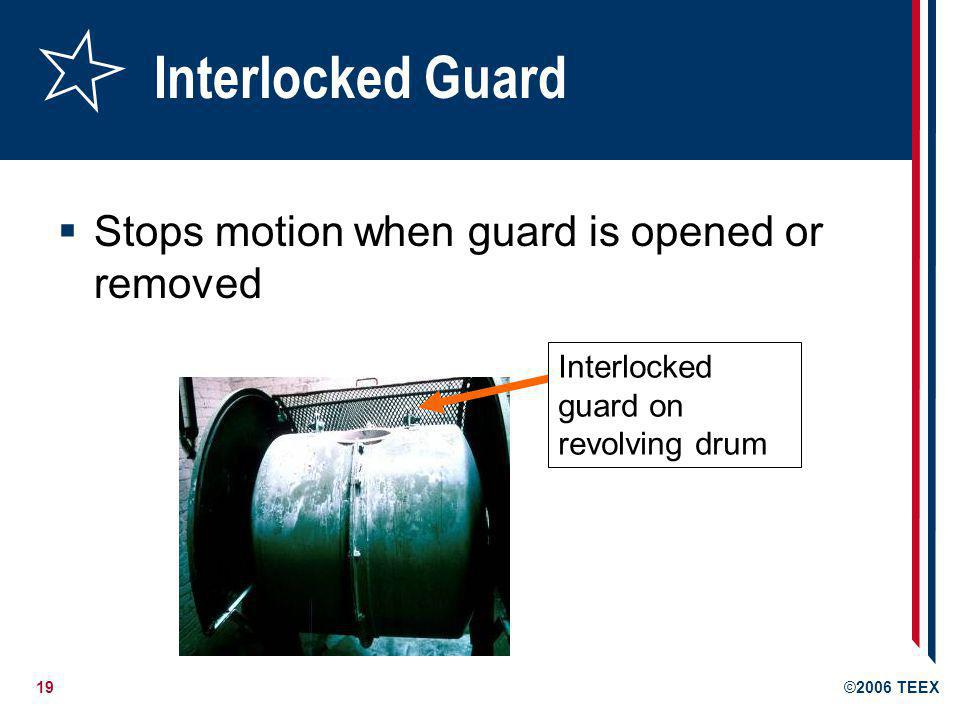 Interlocked Guard Stops motion when guard is opened or removed