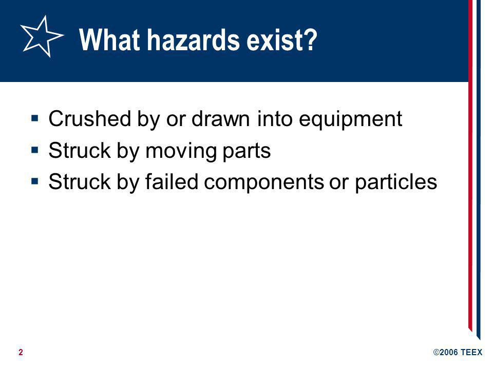 What hazards exist Crushed by or drawn into equipment