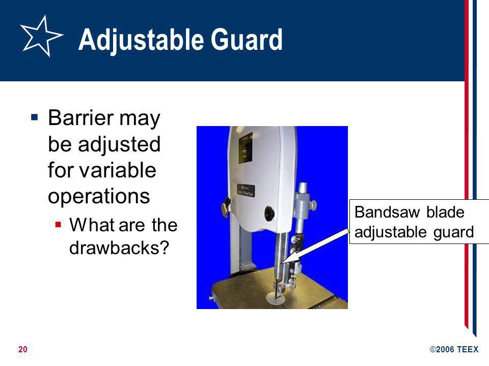 Adjustable Guard Barrier may be adjusted for variable operations