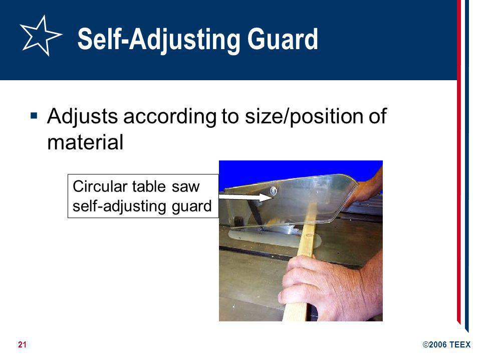 Self-Adjusting Guard Adjusts according to size/position of material