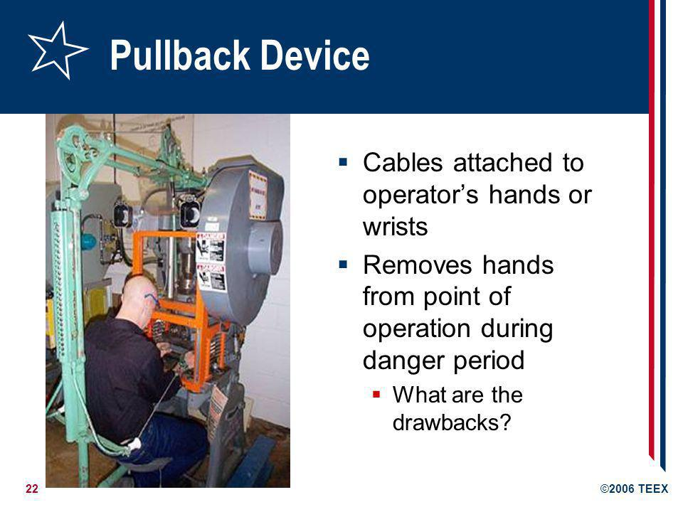 Pullback Device Cables attached to operator's hands or wrists