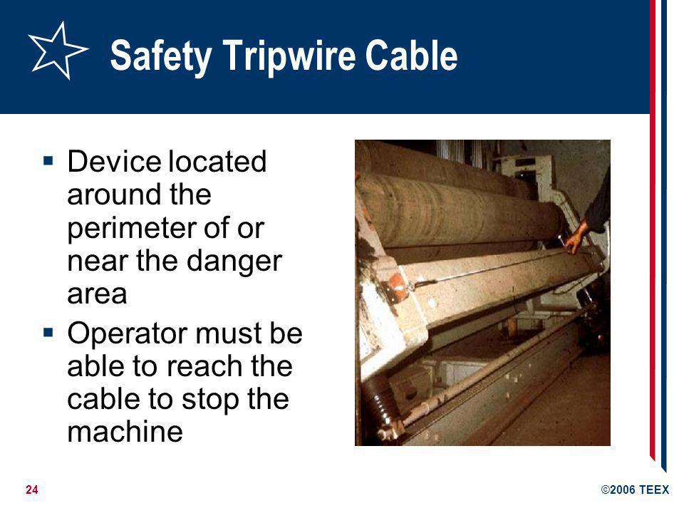 Safety Tripwire Cable Device located around the perimeter of or near the danger area.