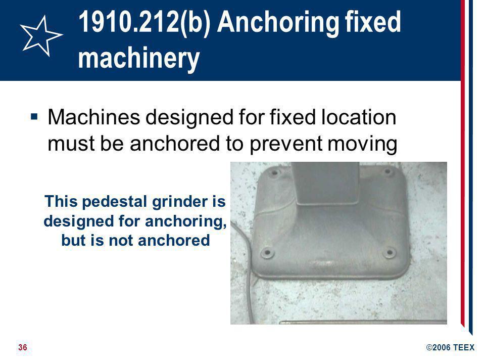 1910.212(b) Anchoring fixed machinery