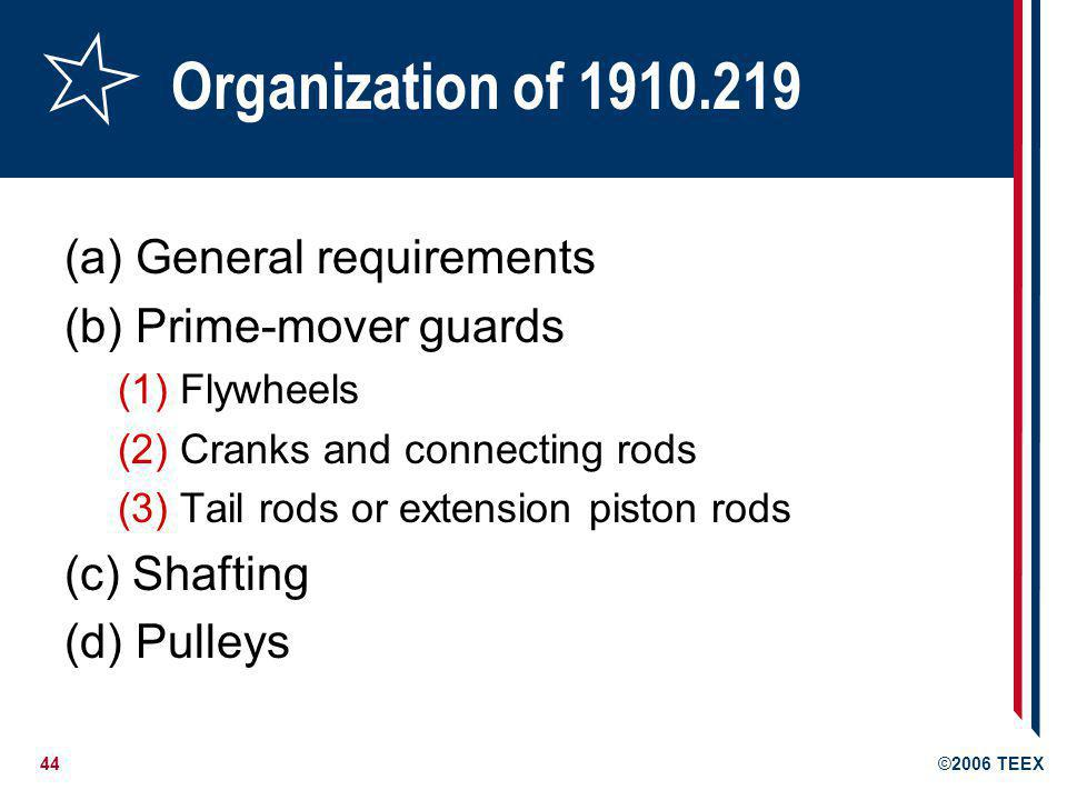 Organization of 1910.219 (a) General requirements