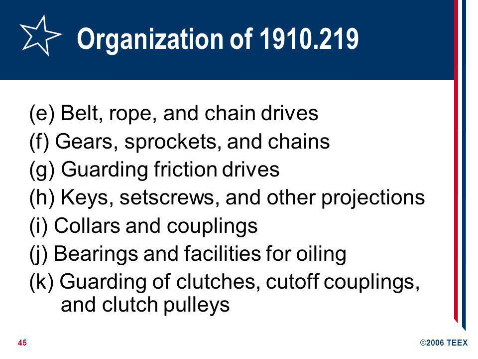 Organization of 1910.219 (e) Belt, rope, and chain drives