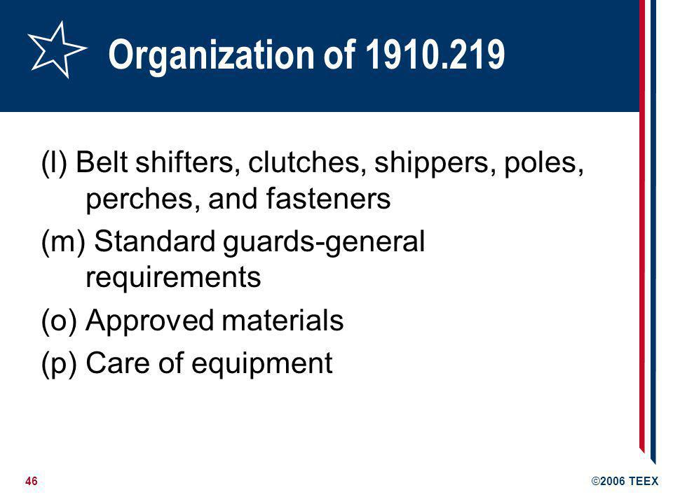 Organization of 1910.219 (l) Belt shifters, clutches, shippers, poles, perches, and fasteners. (m) Standard guards-general requirements.