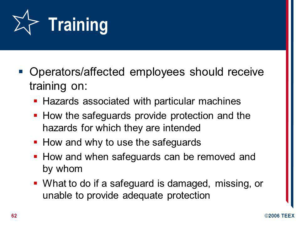 Training Operators/affected employees should receive training on:
