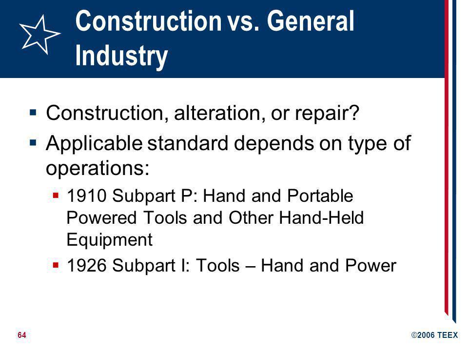 Construction vs. General Industry