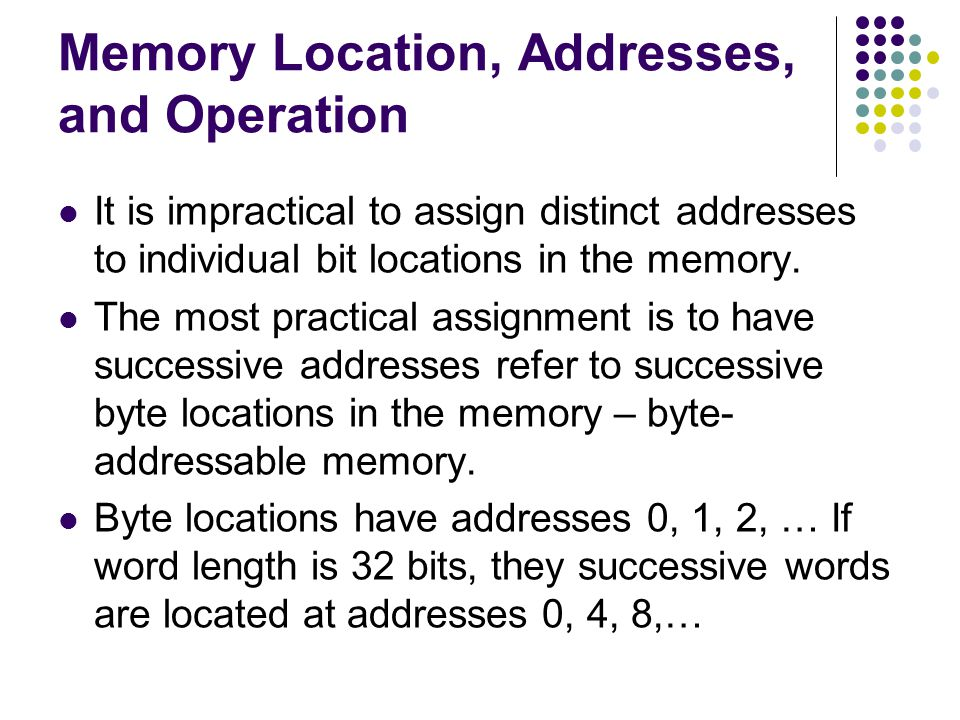 Memory Location, Addresses, and Operation