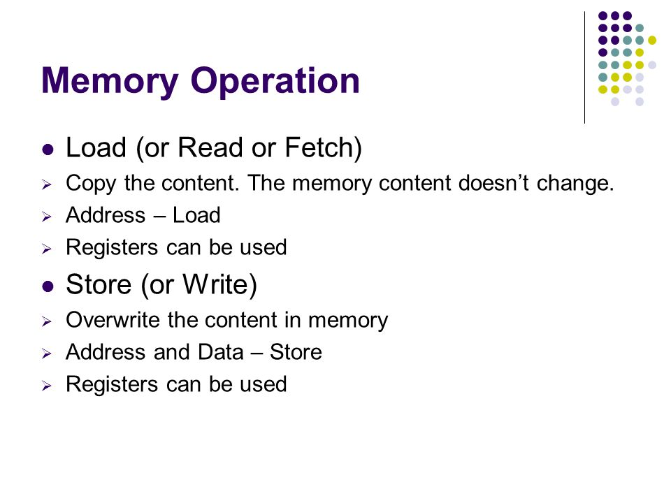 Memory Operation Load (or Read or Fetch) Store (or Write)