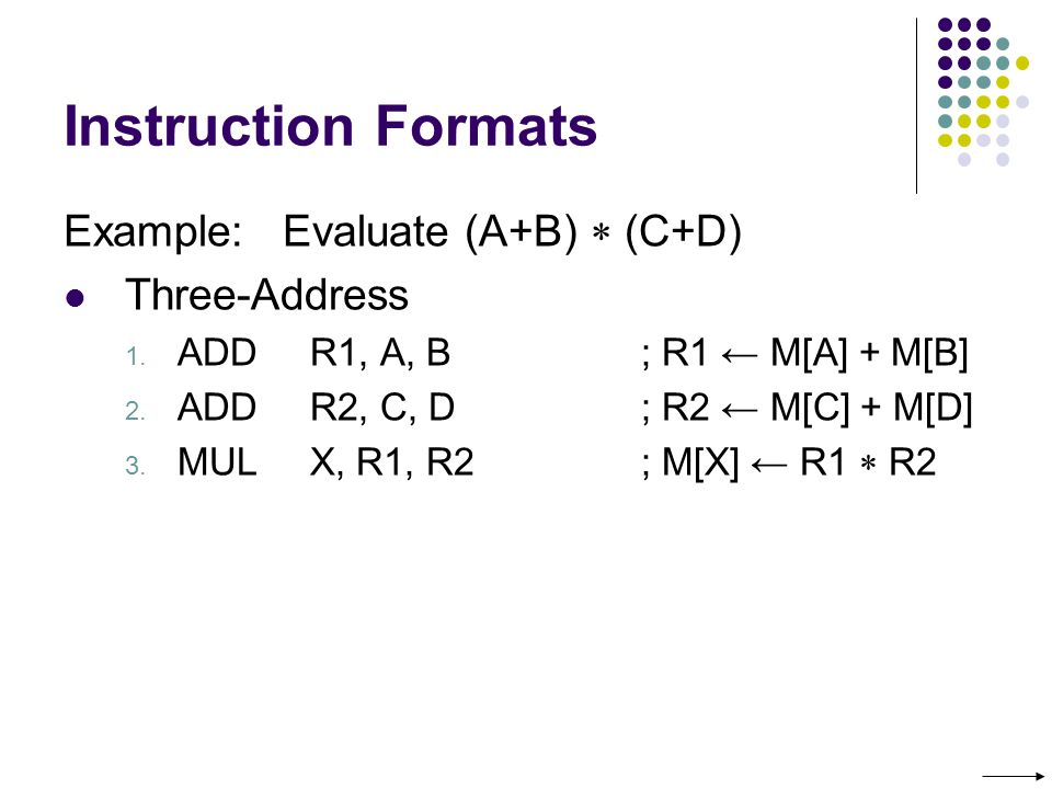 Instruction Formats Example: Evaluate (A+B)  (C+D) Three-Address