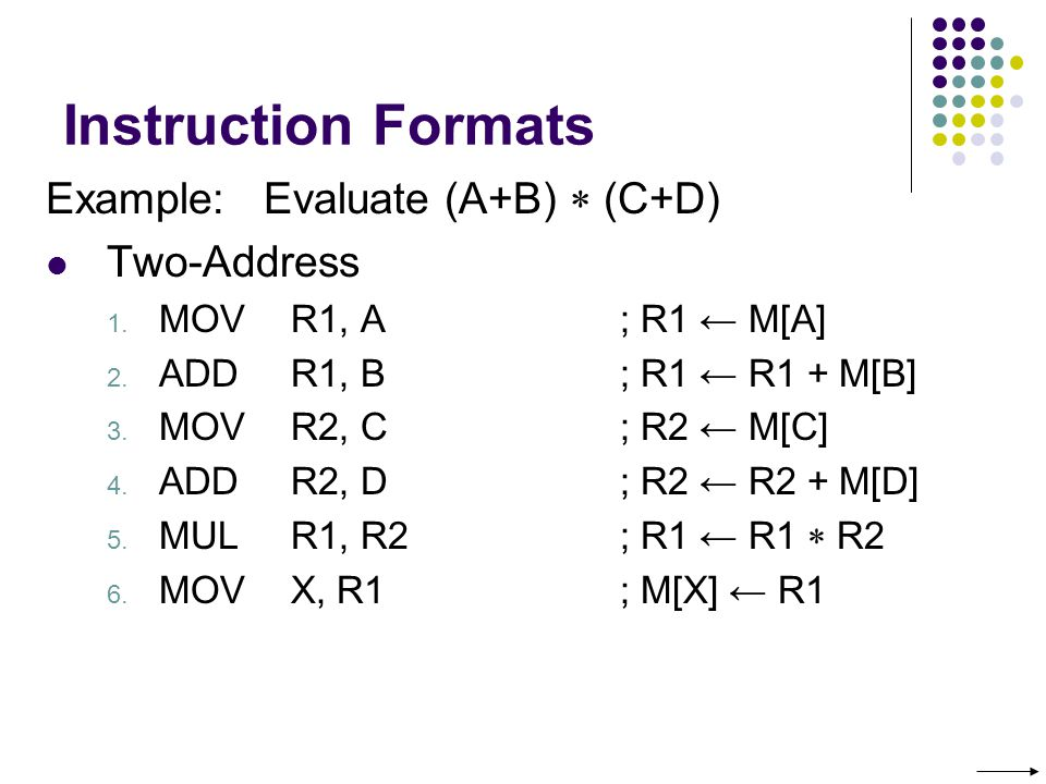 Instruction Formats Example: Evaluate (A+B)  (C+D) Two-Address