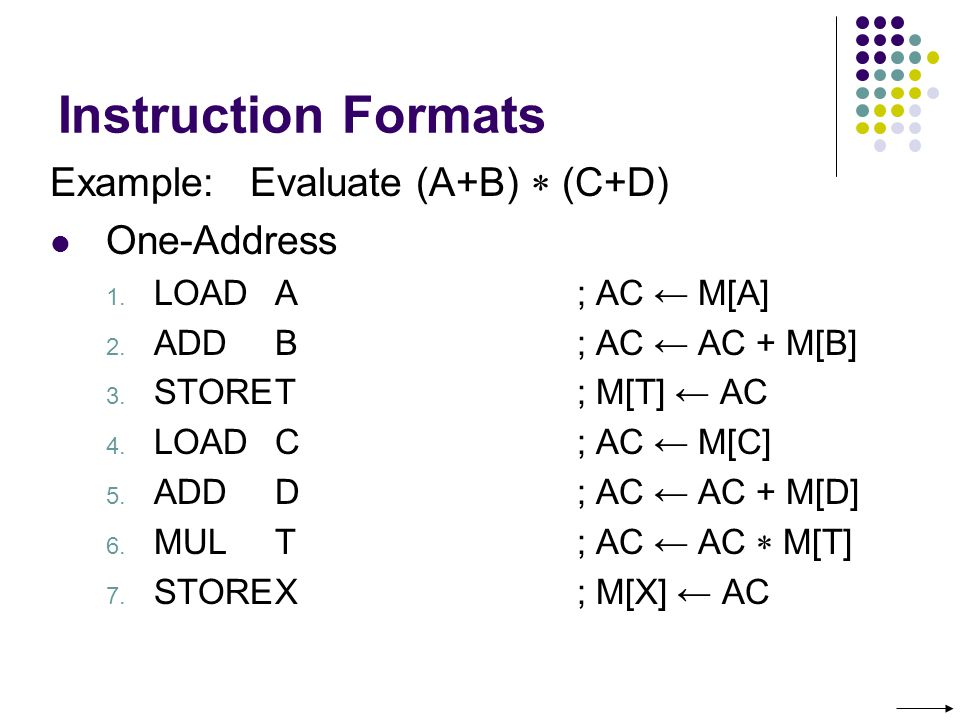 Instruction Formats Example: Evaluate (A+B)  (C+D) One-Address