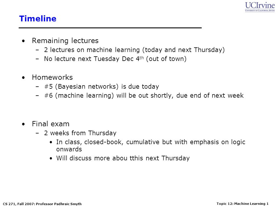 Timeline Remaining lectures Homeworks Final exam