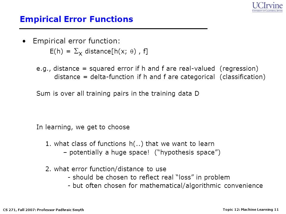 Empirical Error Functions