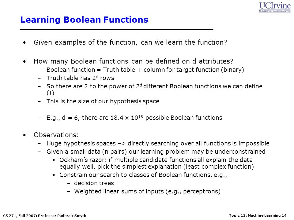 Learning Boolean Functions