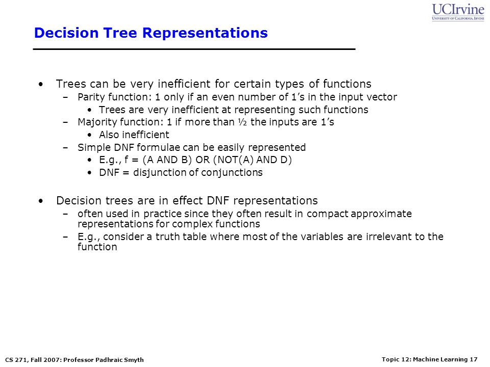 Decision Tree Representations