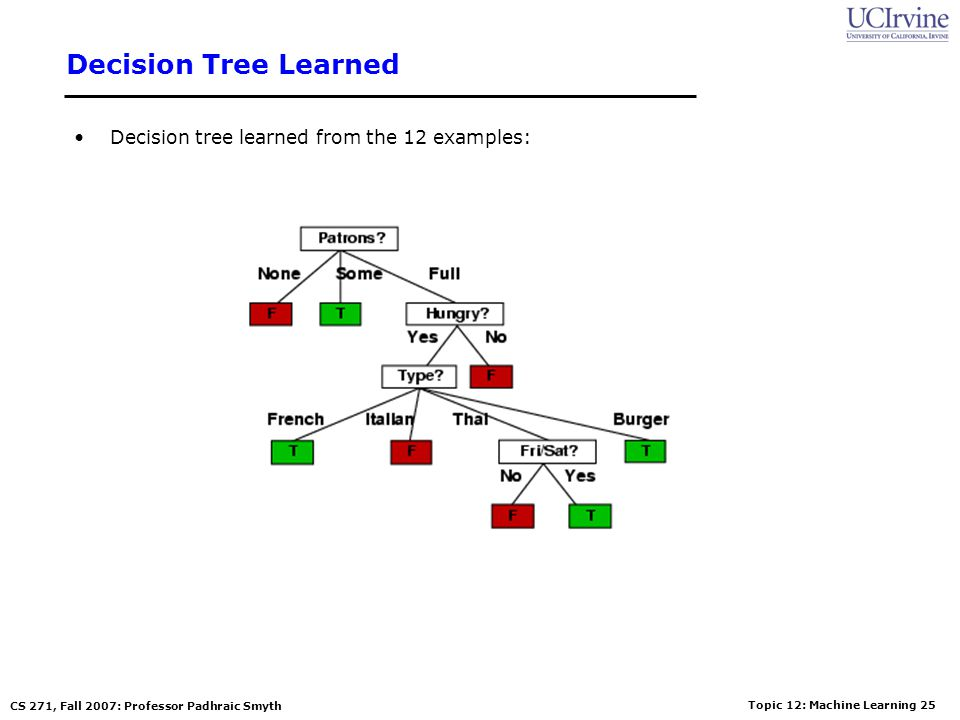 Decision Tree Learned Decision tree learned from the 12 examples: