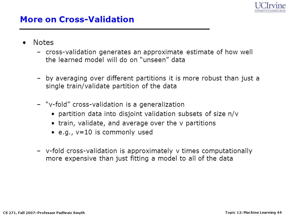 More on Cross-Validation