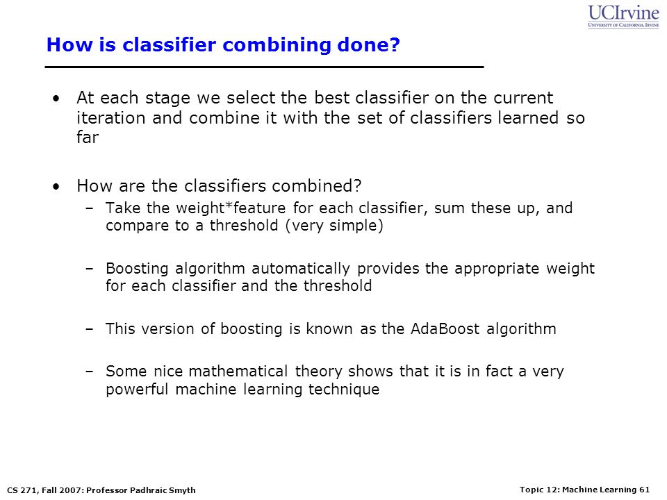 How is classifier combining done