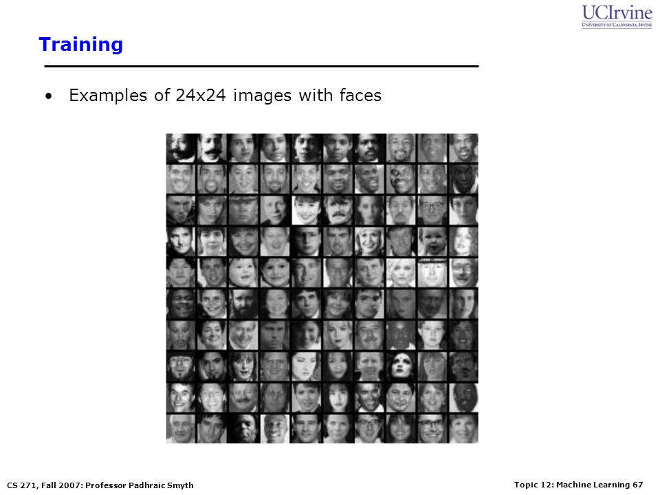 Training Examples of 24x24 images with faces