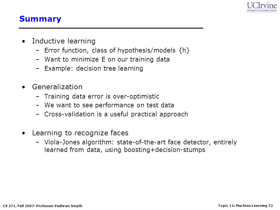 Summary Inductive learning Generalization Learning to recognize faces