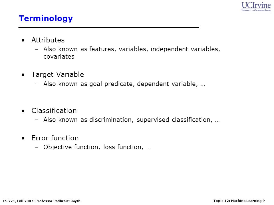Terminology Attributes Target Variable Classification Error function