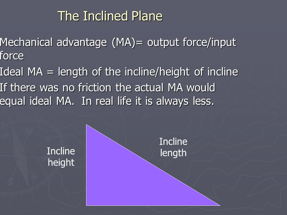 The Inclined Plane Mechanical advantage (MA)= output force/input force