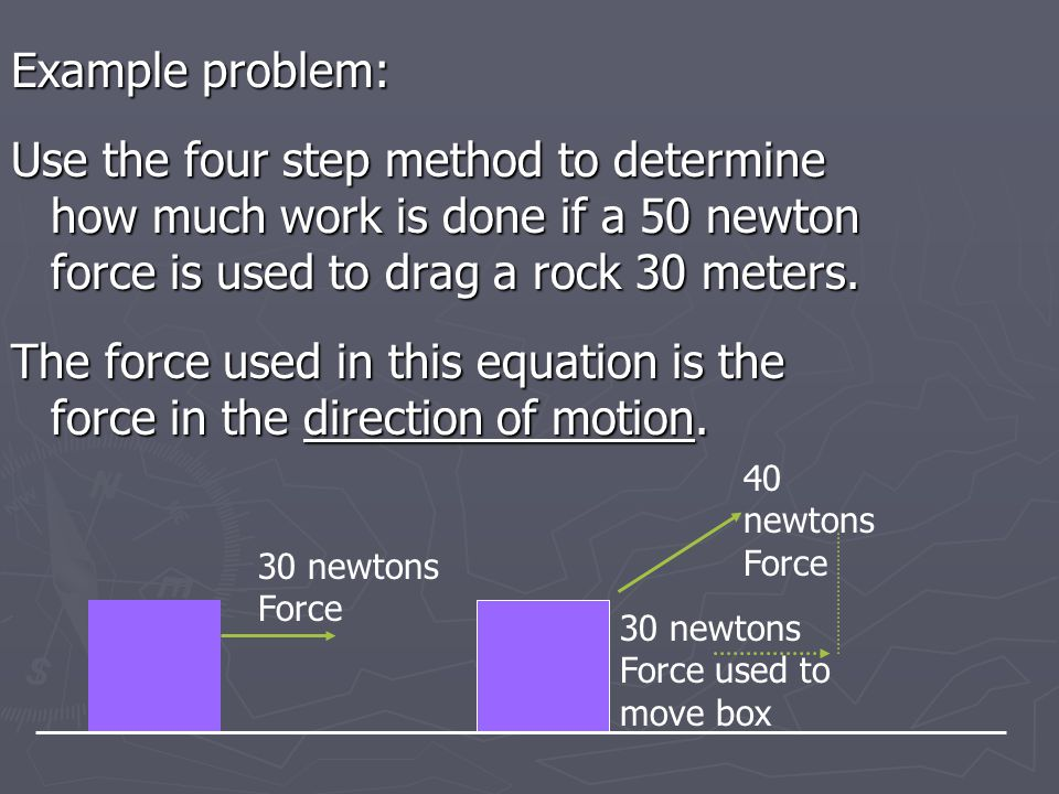 Example problem: Use the four step method to determine how much work is done if a 50 newton force is used to drag a rock 30 meters.