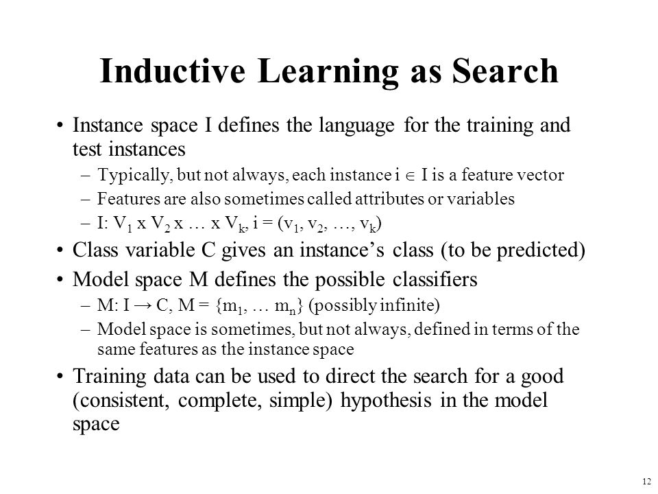 Inductive Learning as Search