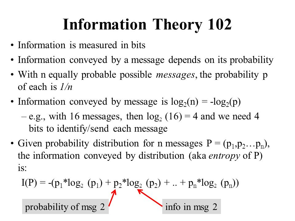 Information Theory 102 Information is measured in bits