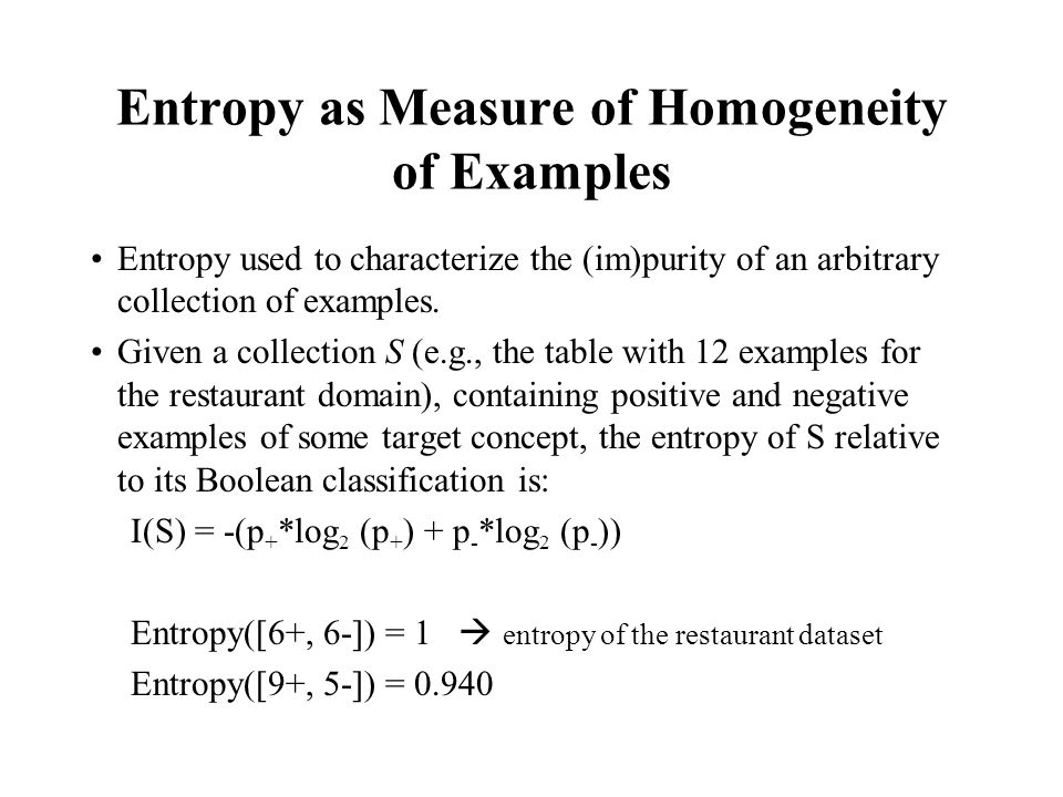 Entropy as Measure of Homogeneity of Examples