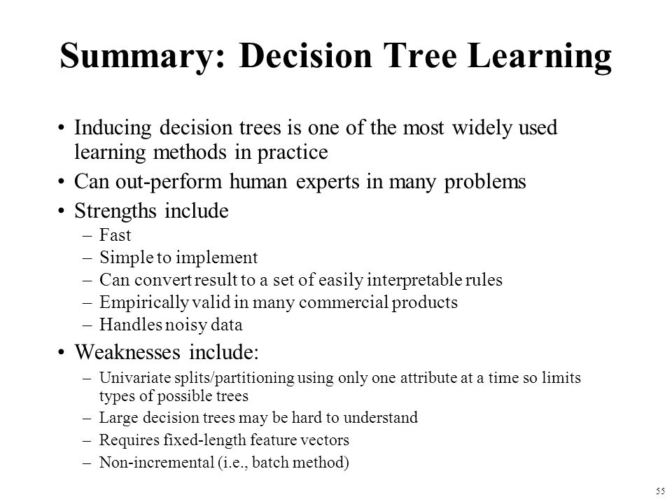 Summary: Decision Tree Learning
