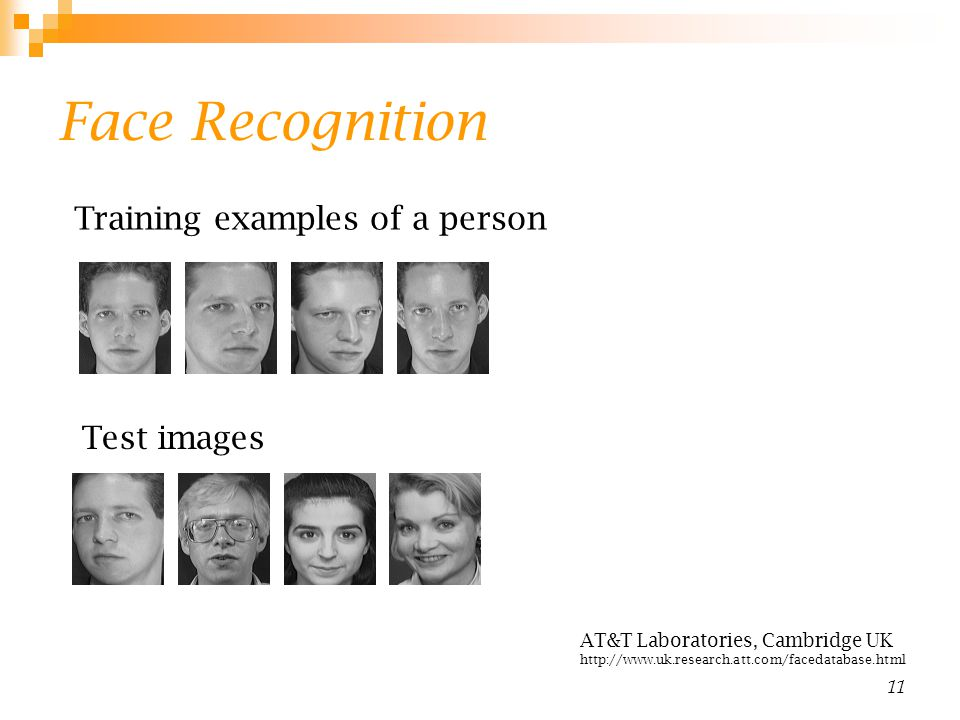 Face Recognition Training examples of a person Test images