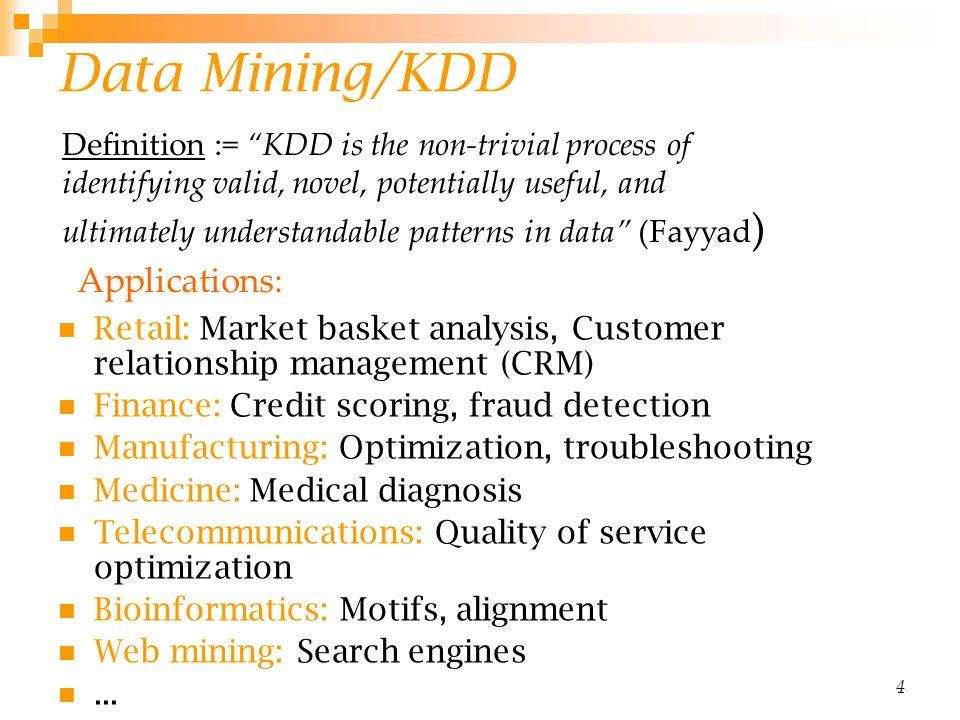 Data Mining/KDD Applications:
