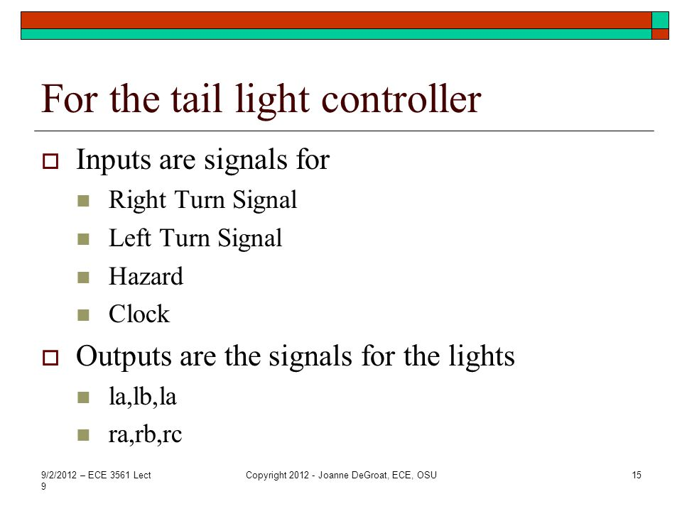 For the tail light controller