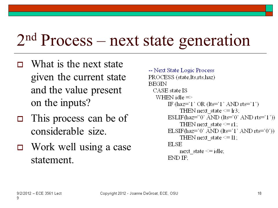 2nd Process – next state generation