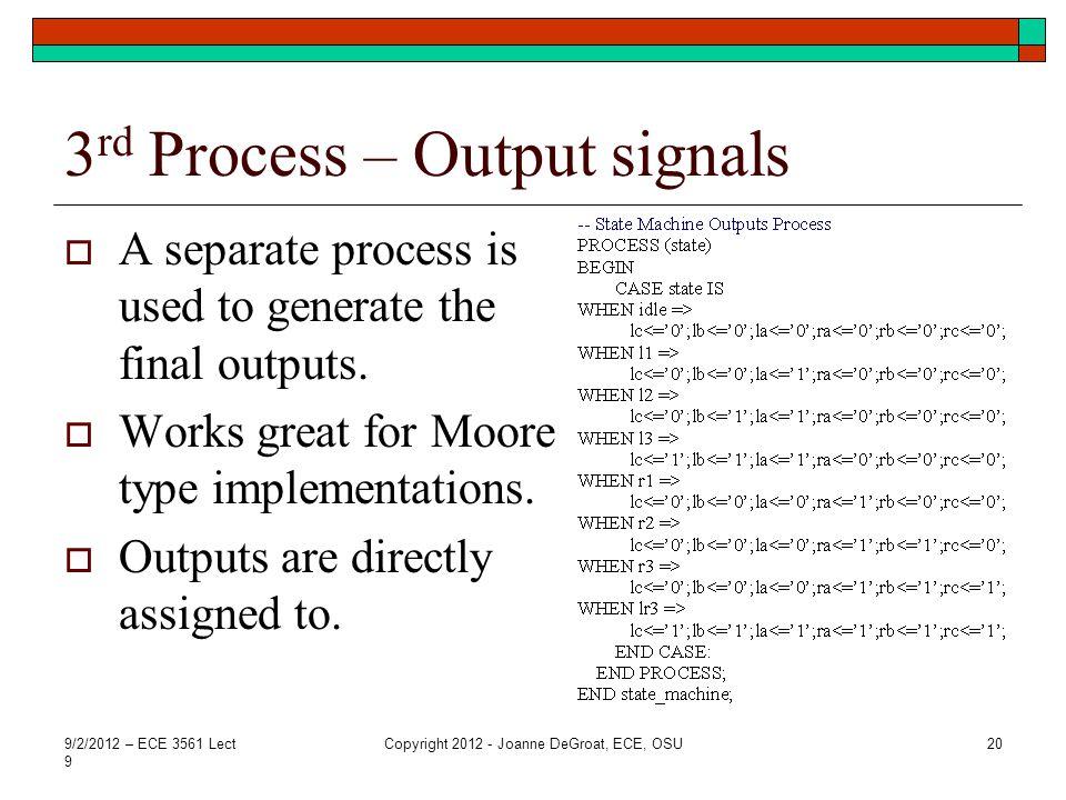 3rd Process – Output signals