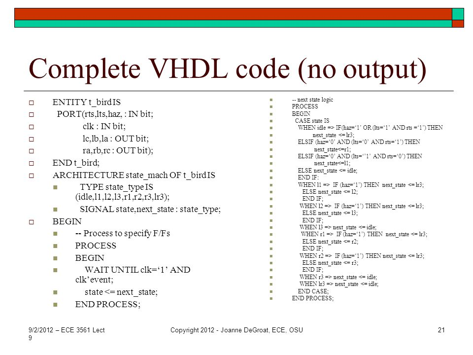 Complete VHDL code (no output)