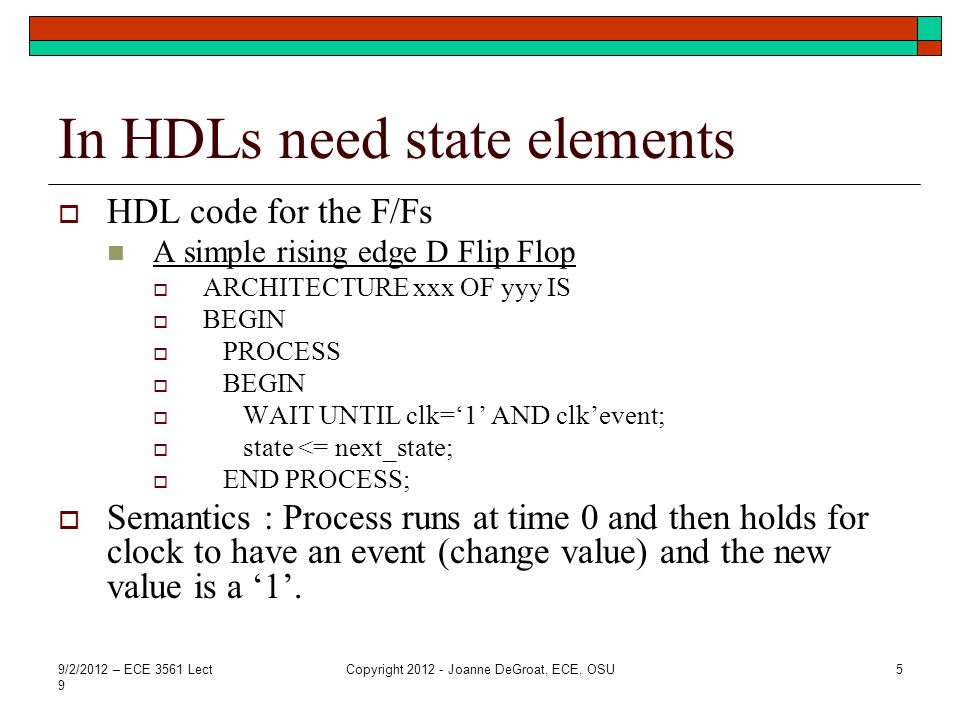 In HDLs need state elements