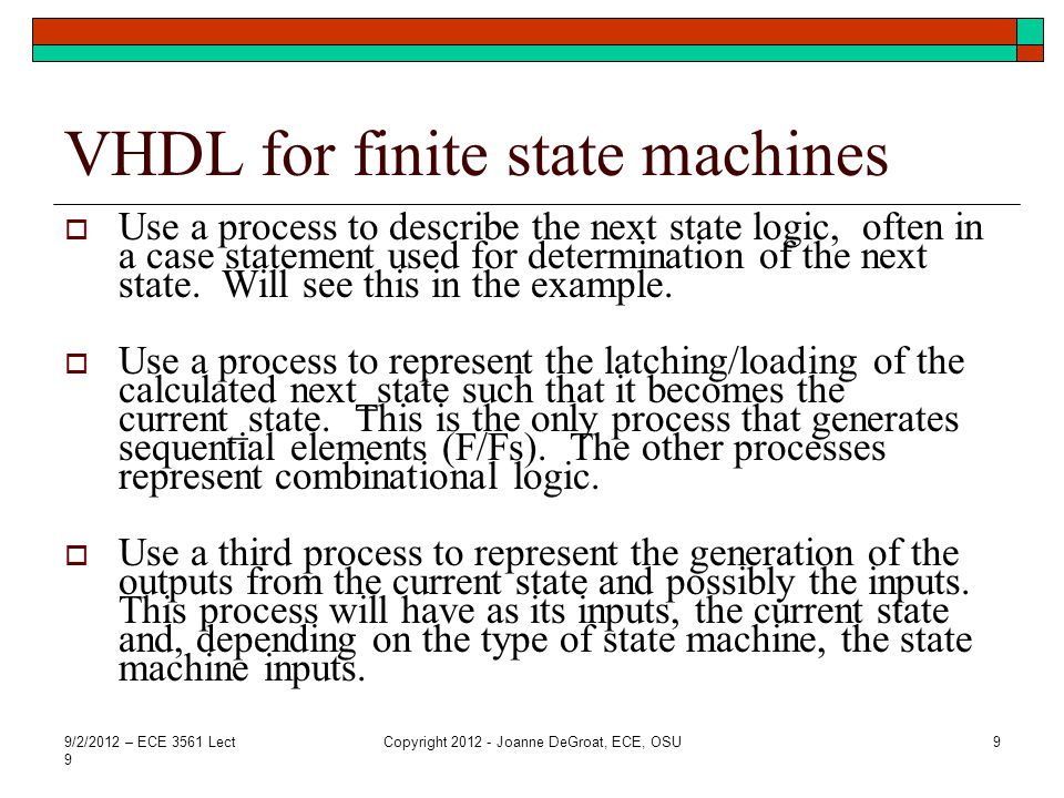VHDL for finite state machines